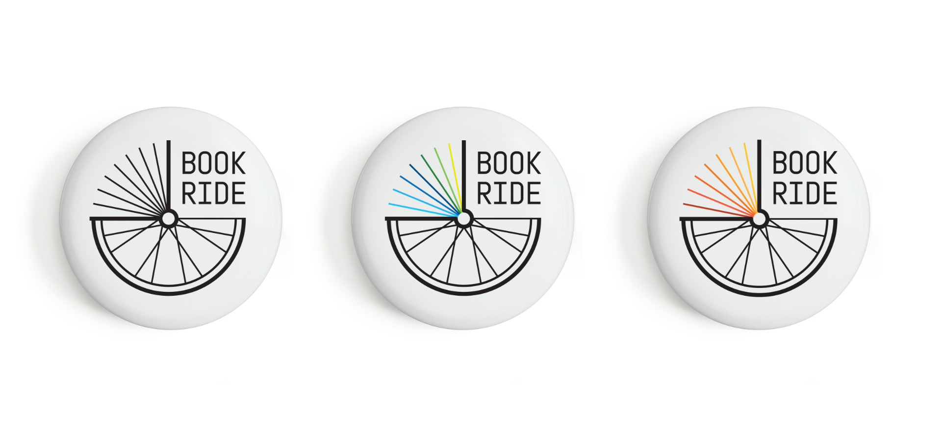 The reading line logo variations on three white button mock-ups