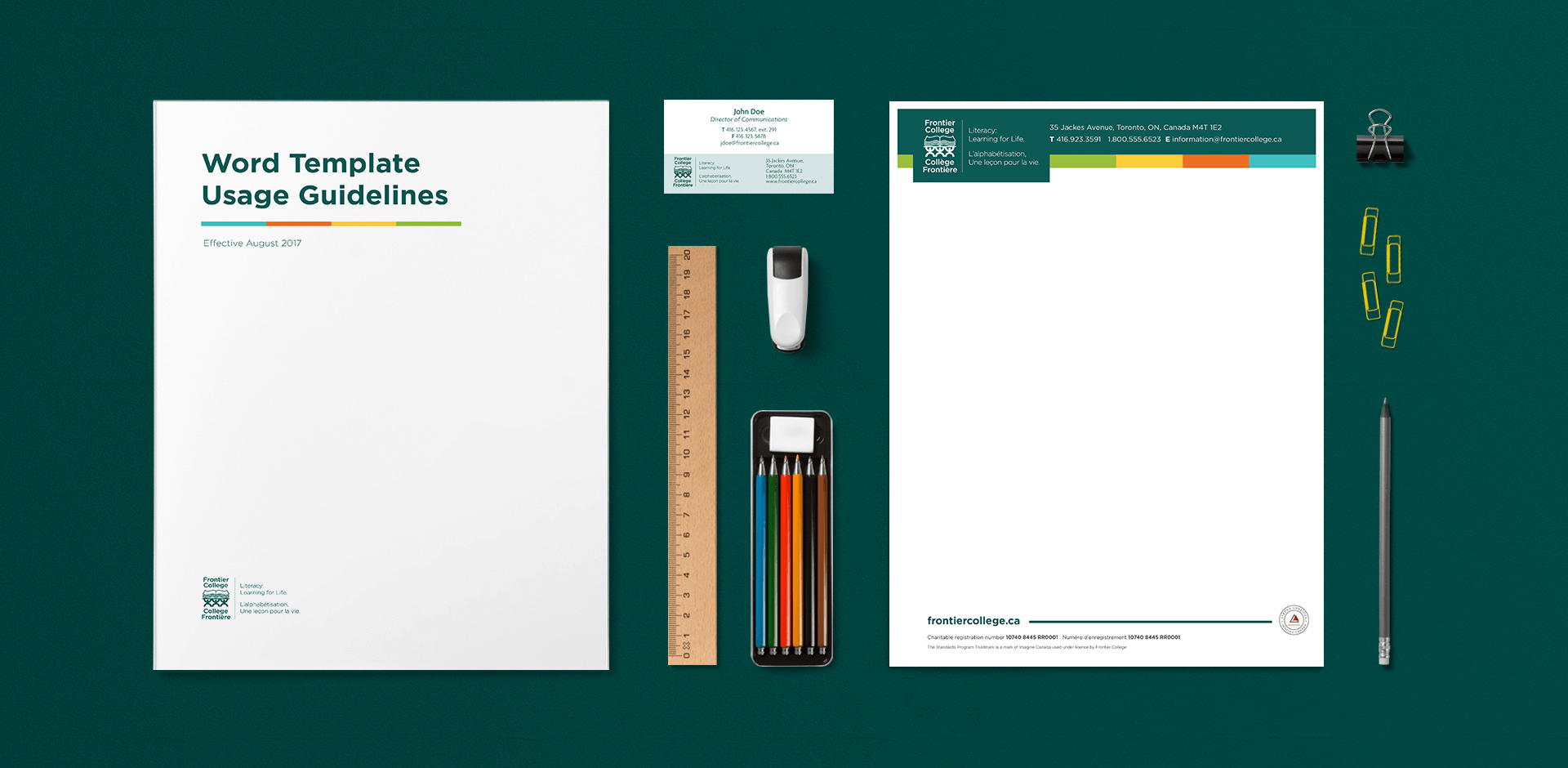 Frontier College letterhead, business card and Microsoft Word template guidelines designed by Gravity Inc