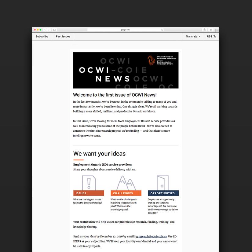 Ontario Centre for Workforce Innovation - Digital Design - MailChimp Newsletter