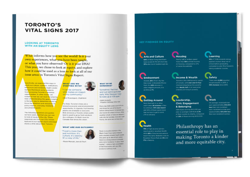 Double page spread with text and graphics explaining Toronto's 2017 vital signs