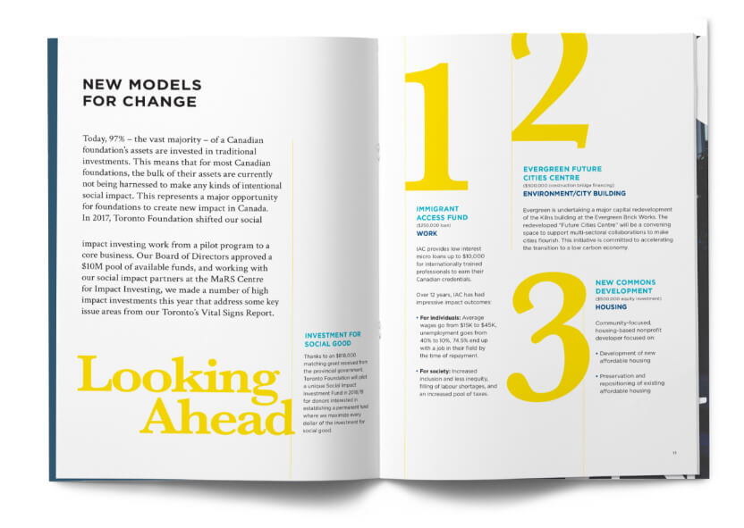 Double page spread with text and graphics describing Toronto Foundation's new models for change