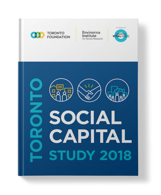 Cover artwork for Toronto Foundation's Social Capital Study 2018 showing title of book along with three icons