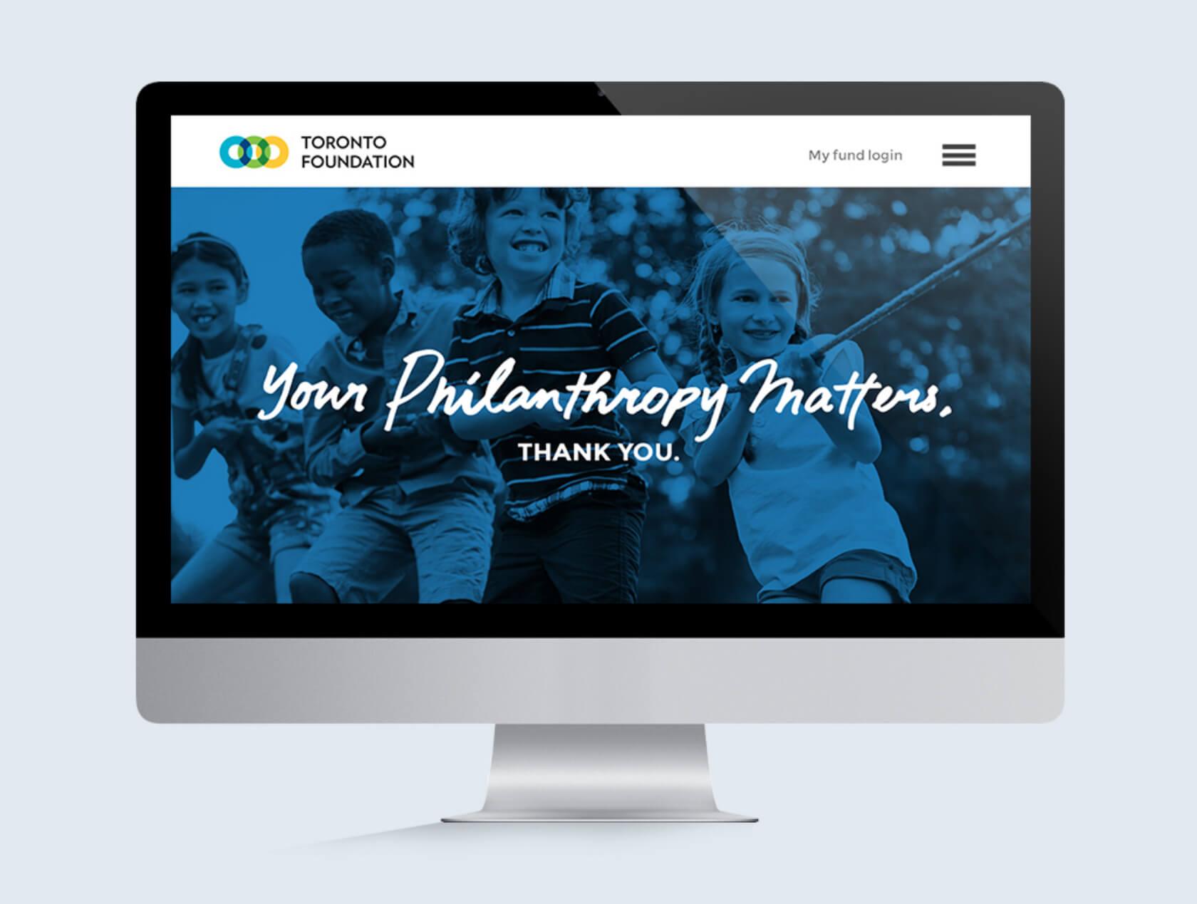 Desktop computer with Toronto Foundation's website displayed