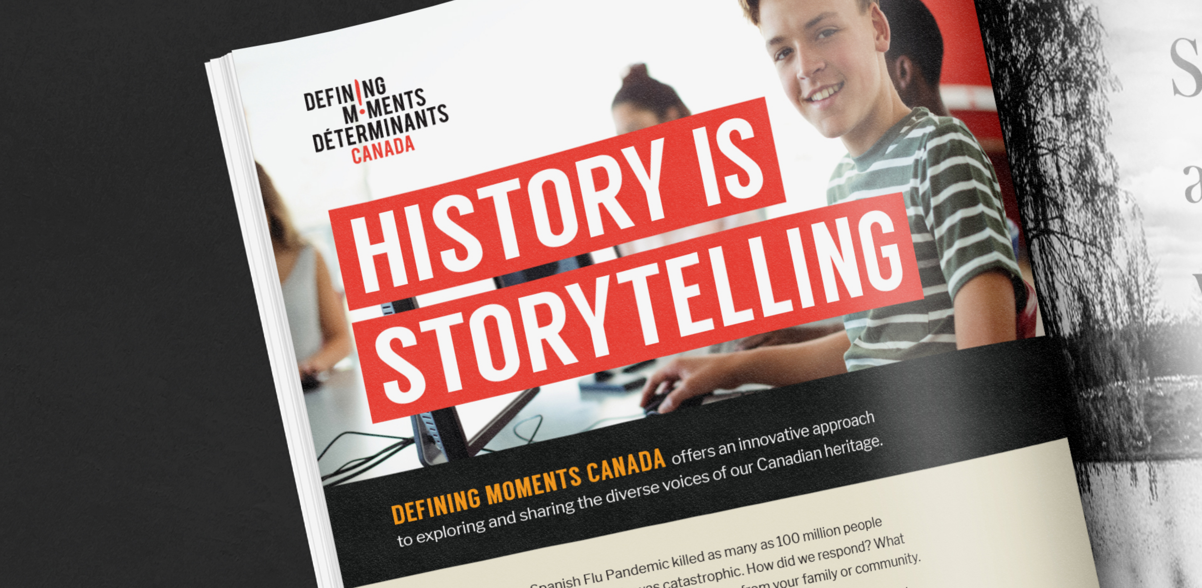 Open magazine showing design of Defining Moments Canada's ad