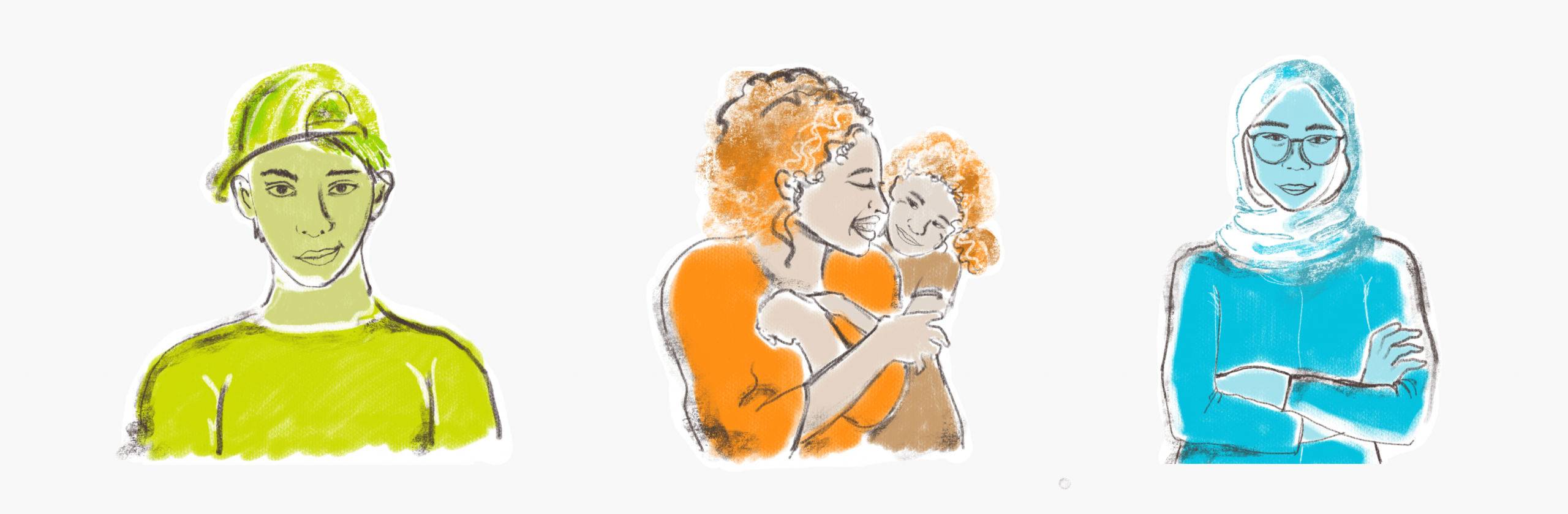 CMHA #getloud custom illustrations of two young adults and mother & child hugging