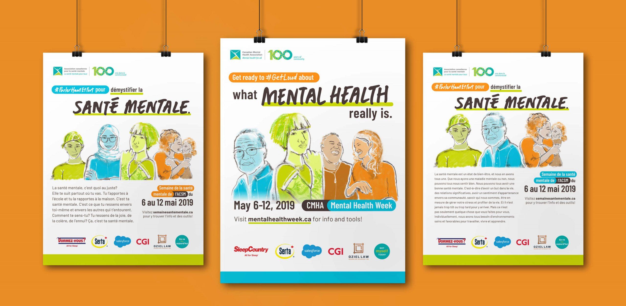 CMHA poster designs with custom illustrations in both EN & FR