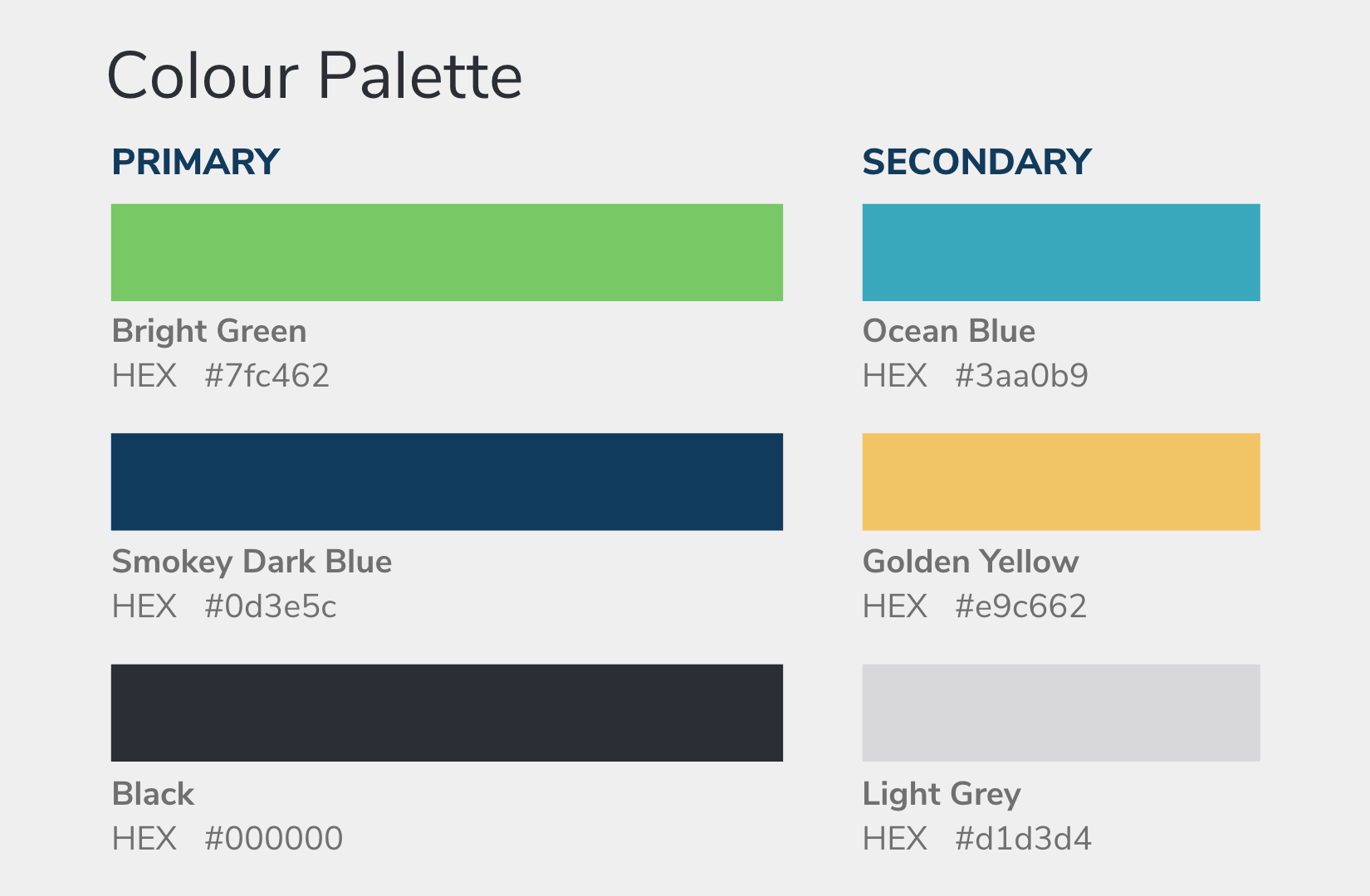 OneStep primary and secondary colour palette