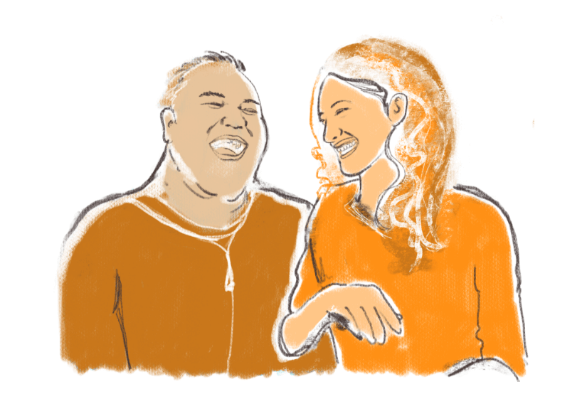 CMHA custom illustration of couple laughing