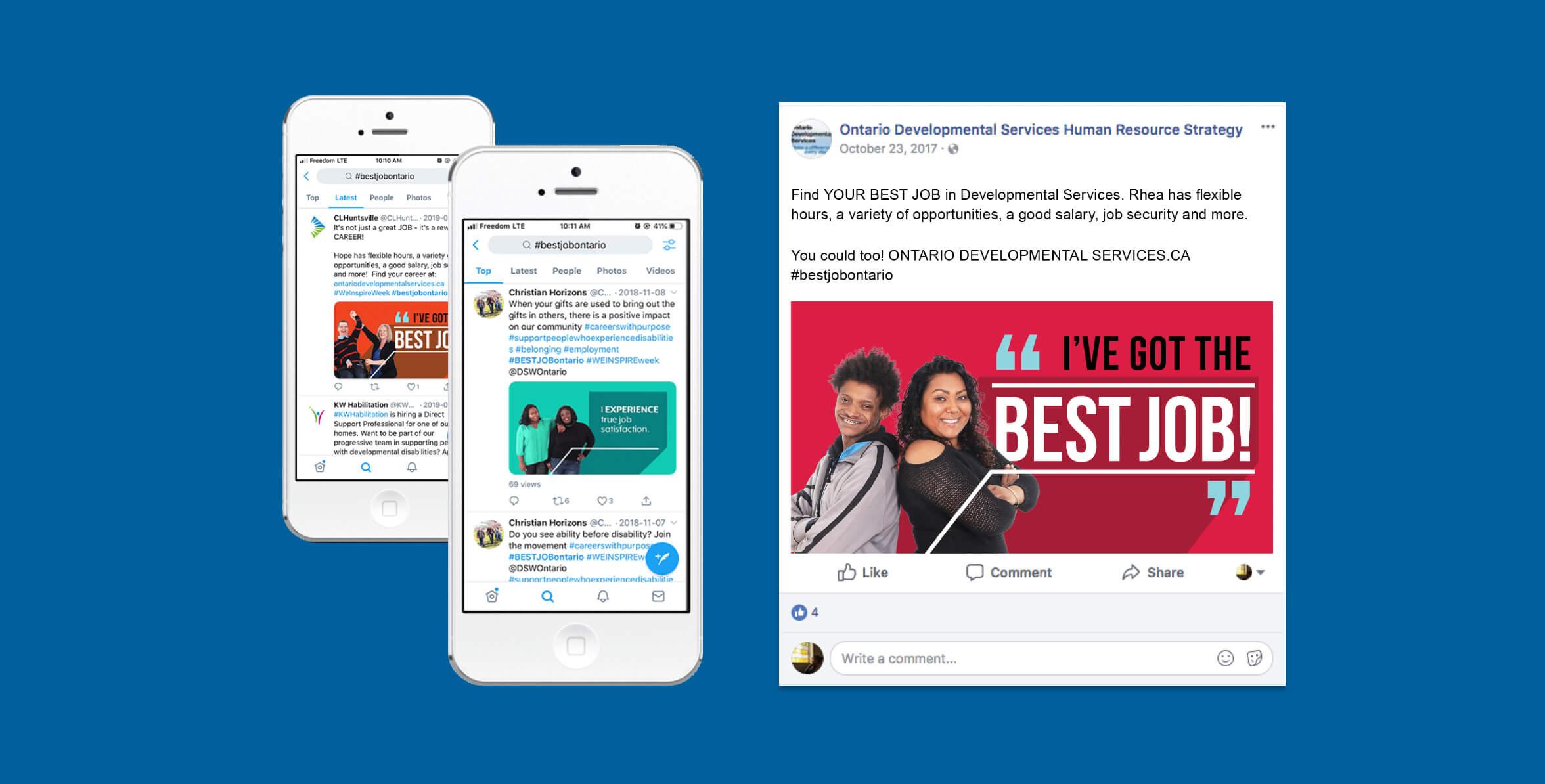 DSHRS social media shares for the #bestjobontario campaign