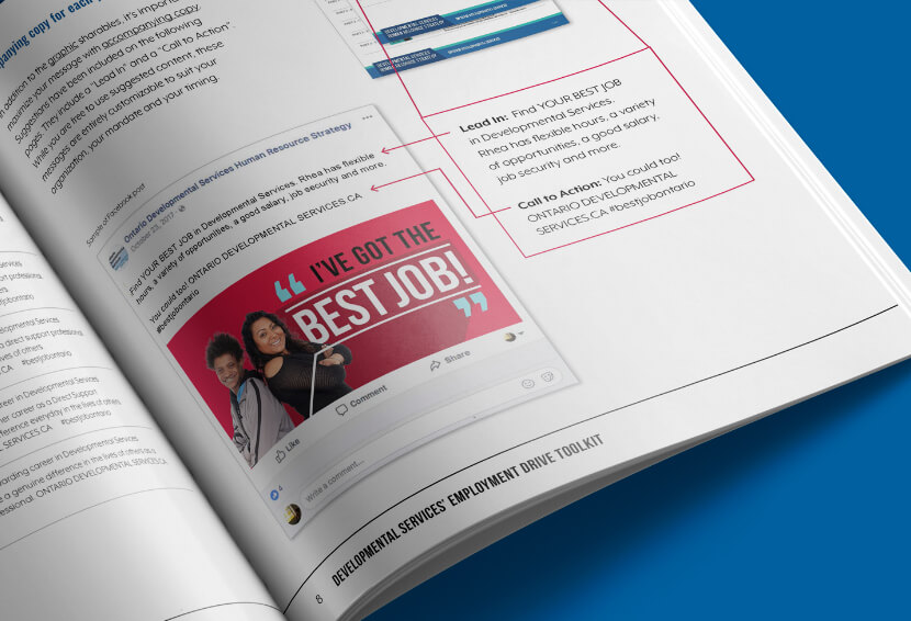 Double page spread showing social media strategy for DSHRS #bestjobontario campaign