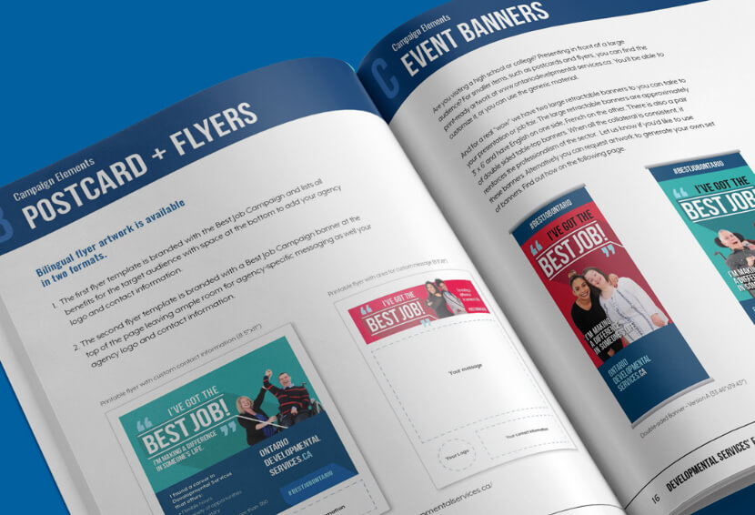 Double page spread design from the DSHRS employment drive toolkit showing guidelines for postcard, flyers and event banners