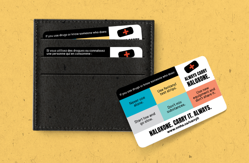 Wallet card design for Naloxone Campaign with a wallet mock-up