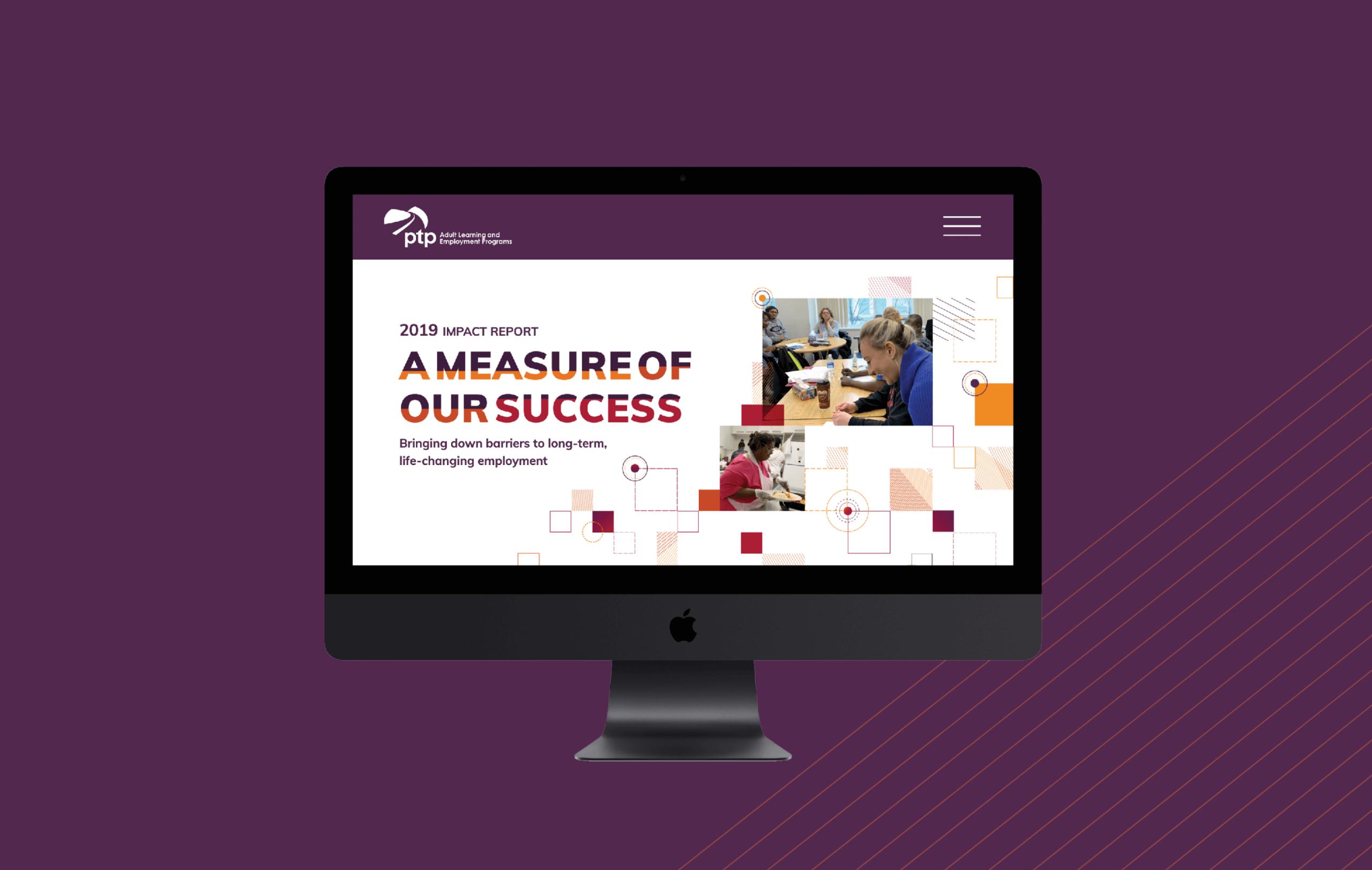 PTP AR 2019 Website Homepage on Desktop Monitor