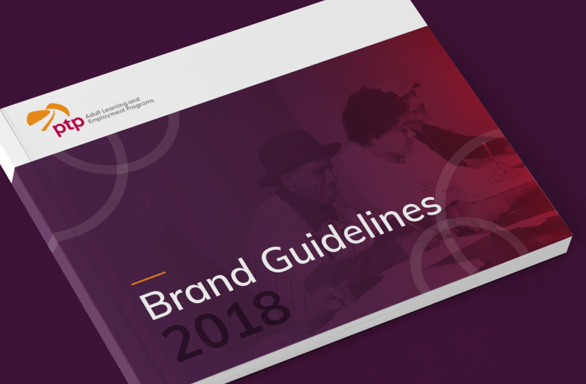 The front cover of PTP's Brand Guidelines document, designed by Gravity Inc.