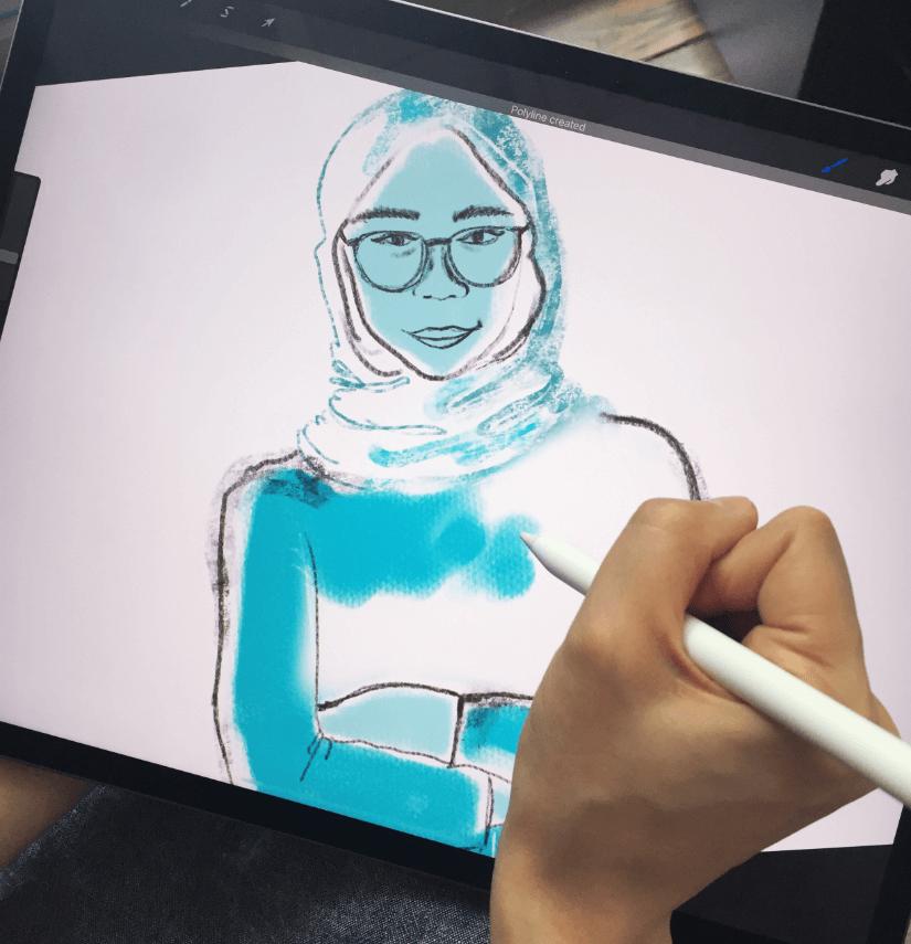 Work in progress of custom illustration on tablet for CMHA