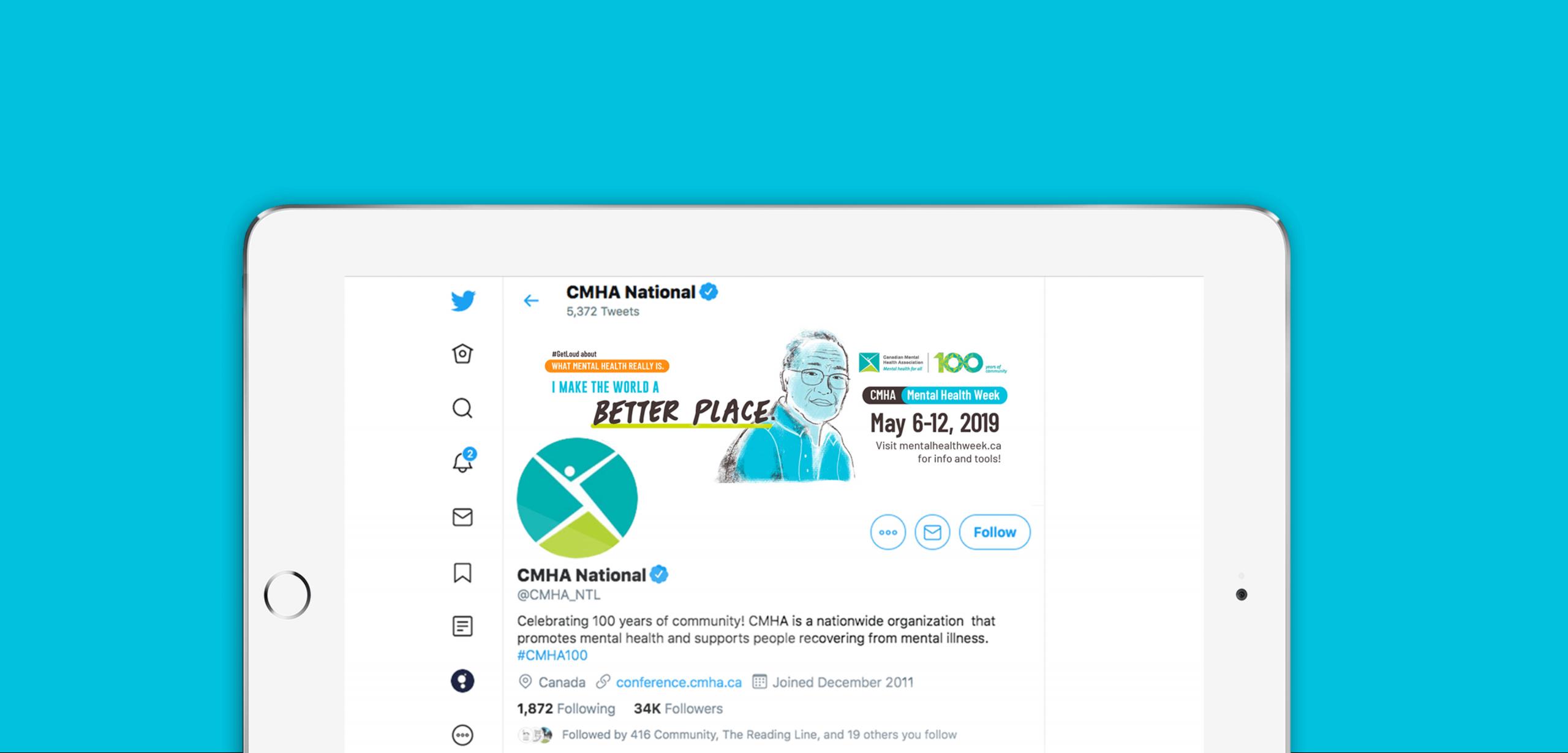 CMHA #getloud twitter illustrative banner design on tablet